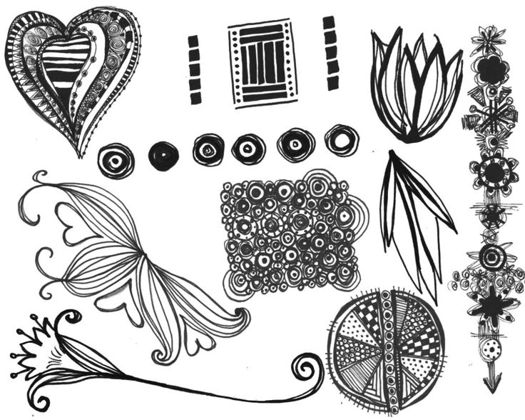 Mixed Doodles photoshop brushes for immediate download scrapbooking, graphic design, journaling by Bestreeartdesigns on Etsy