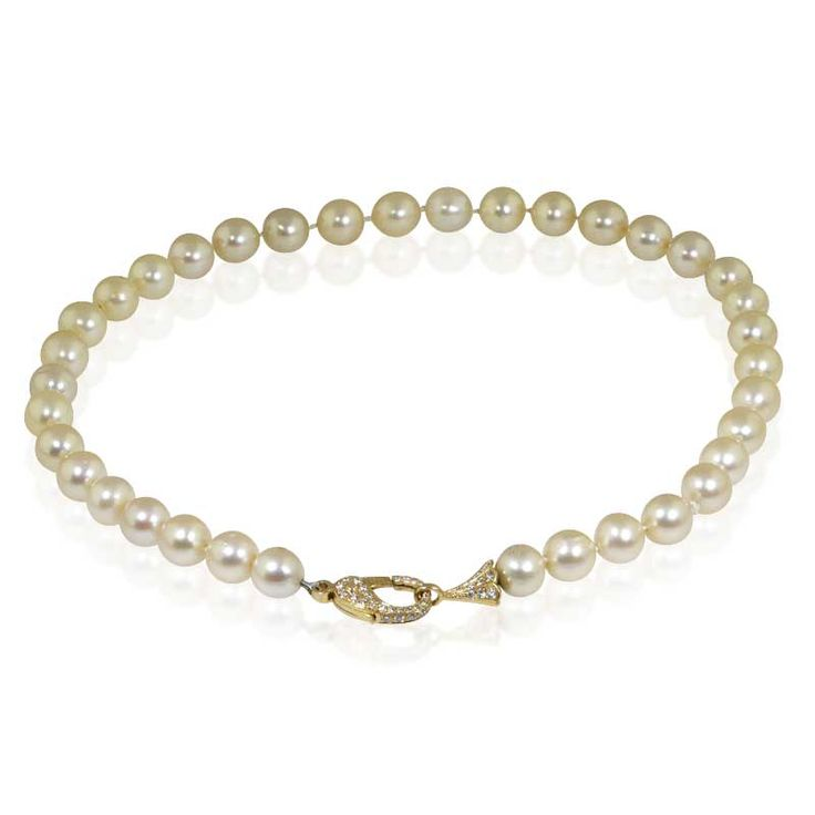 Südsee-Perlenkette 36 Südseeperlen mit 1,02ct Brillant-Schliesse #vintage #schmuck #perlen #südseeperlen #brillant #kette #halsband #