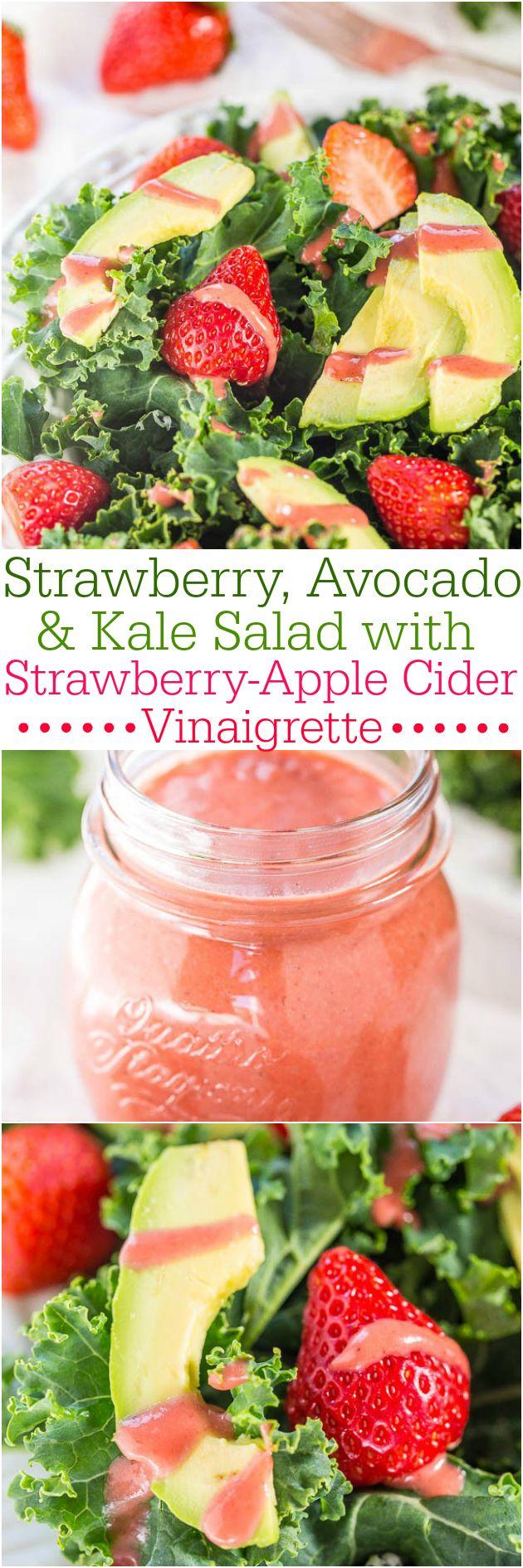 Strawberry, Avocado, and Kale Salad with Strawberry-Apple Cider Vinaigrette…