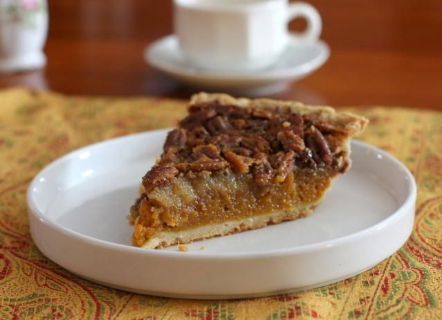 Successfully made (but with maple syrup instead) Classic Pumpkin Pecan Pie, The Best of Both Worlds