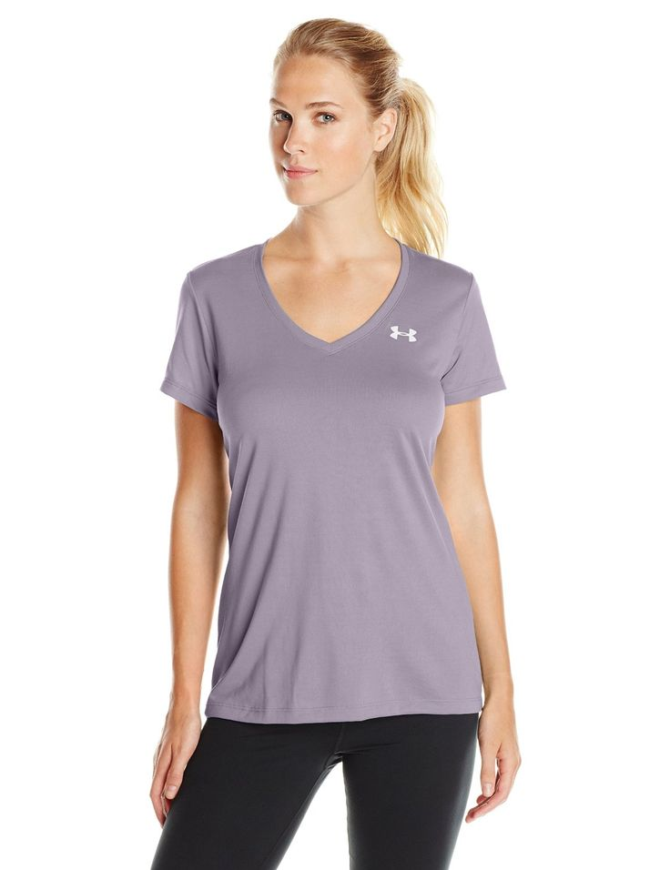 Under Armour Women's Tech V-Neck. Tech fabric delivers incredible all-day  comfort. Signature Moisture Transport System wicks sweat to keep you dry &  light.