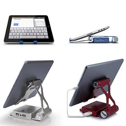 Podium Style 3 Pc Folding Gadget Stand With Built In Power Bank