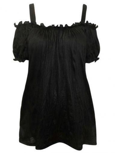 Black Off The Shoulder Top - Curvy Girls Clothing UK by curvygirlsclothing.co.uk on CurvyMarket.com Plus Size
