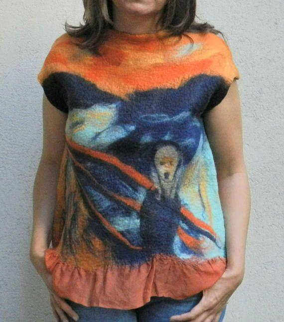 Nuno felt blouse wool painting The Scream Edvard Munch