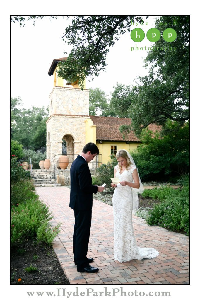 Sweet First Look love letters exchanged near Ian's Chapel at Austin wedding venue @camplucy! See much more at http://www.hydeparkphoto.com/camp-lucy-wedding-2/ || Austin weddings, Austin wedding photographers, Texas wedding photographers, wedding ideas, Austin wedding venues, Austin wedding venues outdoors, Camp Lucy, Camp Lucy Austin, Ian's Chapel, destination wedding photographers, Hyde Park Photography, Texas weddings, Austin wedding photography, wedding details, Austin brides