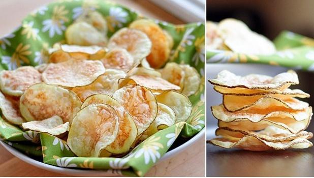 Patatas chips al microondas - Recetín