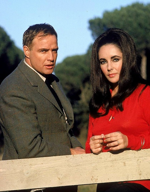 "Marlon Brando and Elizabeth Taylor on location during filming of movie ""Reflections in a Golden Eye"", photo by Loomis Dean, Italy, 1967"