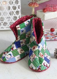 Quilted Slippers in a Christmas motif from coatscrafts.co.uk. Find the pattern and directions here:  http://www.favequilts.com/Quilted-Wearables/Quilted-Christmas-Booties-from-Coats-Crafts/ct/1