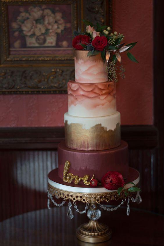 Dreamy Burgundy Watercolor Wedding Cake