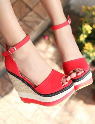 Women Fashion Buckle Ankle Strap Peep Toe Platform High Heel Wedge Pumps Sandals