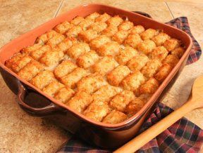 Ground Turkey Tater Tot Casserole - I am making this tonight but prepare it a little differently.    Spread ground turkey in bottom of baking dish (uncooked), top with mushroom soup, green beans (drained), then cheese and top with tater tots.  Put in @ 350 for 30 - 45 minutes.  Make sure to check that turkey is cooked all the way through