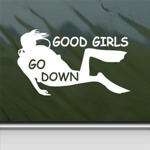 Amazon.com - Good Girls Go Down White Sticker Scuba Dive Diver Laptop Vinyl White Decal - Decorative Laptop Skin Decals