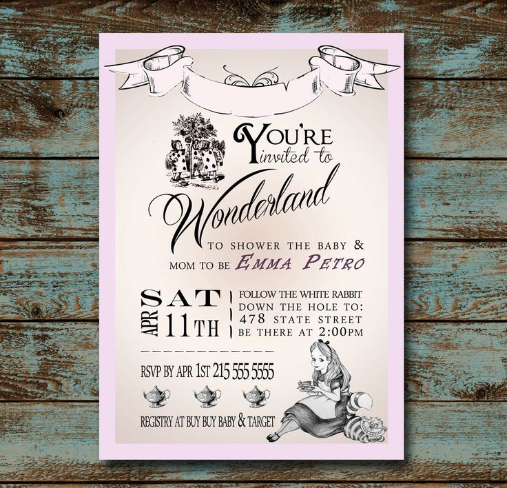 138 best images about alice in wonderland baby shower on pinterest, Baby shower invitations