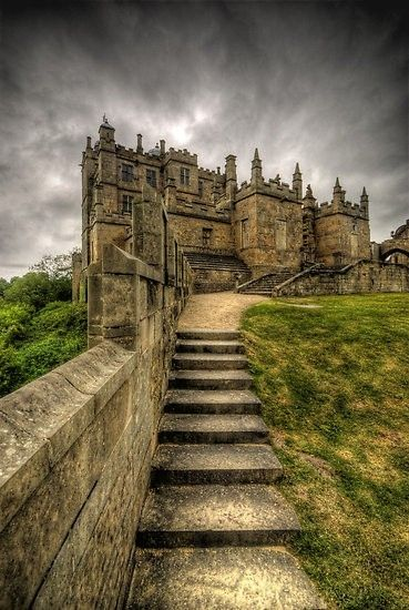 Bolsover Castle, England | Loving the wide, shallow and deep stone stairs, alongside the wall.  Beautiful!