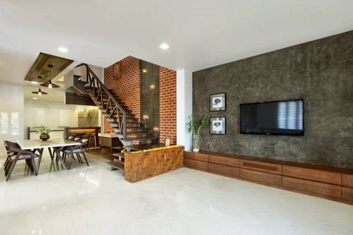Nitya Bungalow A T Associates Small House Design Plans Staircase In Living Room Luxury Living Room Design