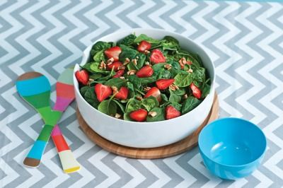 Strawberry-Spinach Salad with Walnuts...Toss baby spinach together with walnuts (pieces or halves) and strawberries (hulled and sliced). Serve with your favorite dressing e.g. balsamic vinaigrette or a creamy poppy seed dressing..