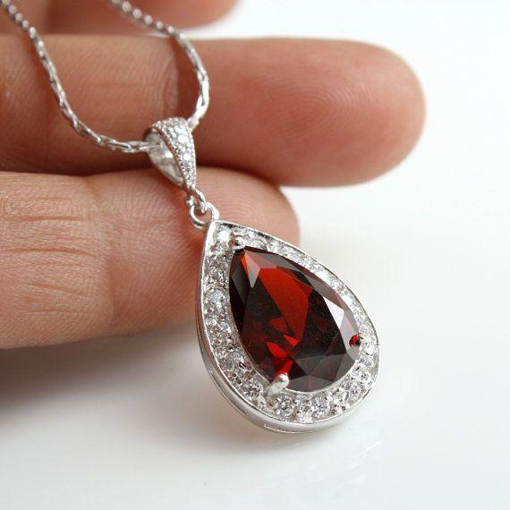 Wedding Necklace Bridal Necklace with Large Dark Garnet Red Cubic Zirconia Teardrop pendant Silver Wedding Jewelry