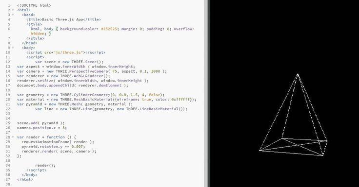 How to make a basic Three Js web app. That's a rotating pyramid. Only Wireframe of it.  ____________________ #coder #adobe #threejs #webdesigner #webdesign #webdevelopment  #webdeveloper #interface #creative #userexperience #ux #ui #website #programming #behance #dribbble #inspiration #html #websitedesign #art #css #javascript #wireframe #programmer #likeforlike #follow4follow #instagood #picoftheday #uxdesign #uxdesigner