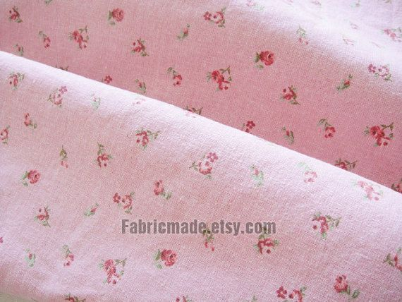 Linen Fabric With Vintage Pink Rose Floral Shabby Chic Washed Blue Beige White 1 2 Yard
