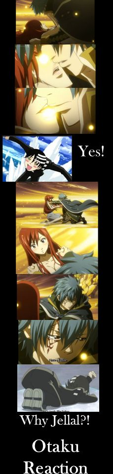 Jellal X Erza, Fairy Tail, otaku reaction--- that part had me soo mad I cried and wanted to strangle someone
