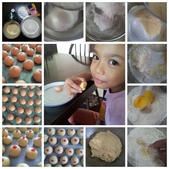 Clockwise from top-left: Making Biskut Suji (Semolina Biscuit). Also see my little kitchen assistant.
