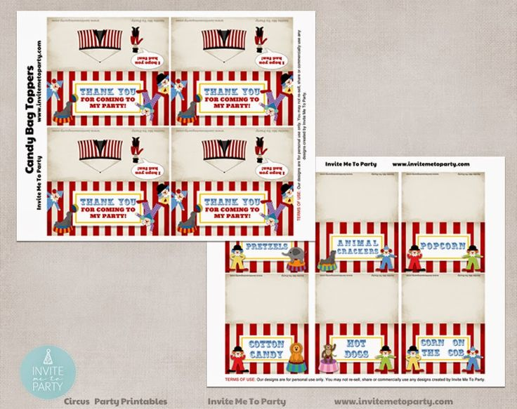 Carnival Party Decorations Printables menu cards and candy bag toppers Invite Me To Party: Carnival Party | Circus Party