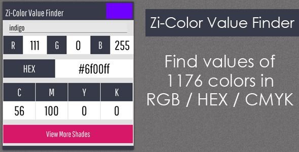 Zi-Color Value Finder . This item is a color value finder by the name of the