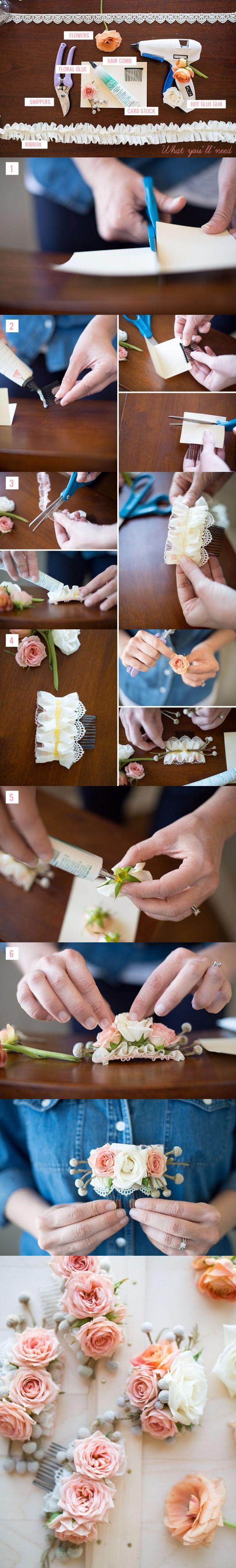Tutorial: Cómo adornar una peineta con flores / http://www.weddingomania.com/