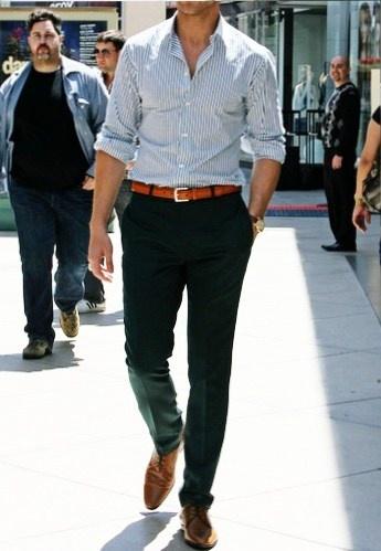 brown Berluti shoes + blue Zara pants + brown belt + white/blue striped Zara shirt w/ rolled up sleeves