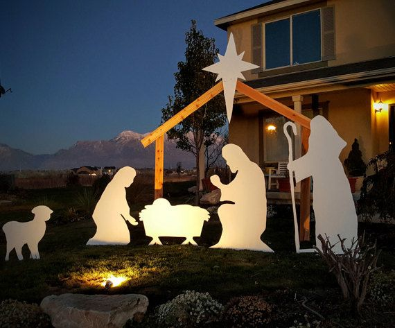 Life Size Silhouette Nativity Set Outdoor with by NativitySetShop