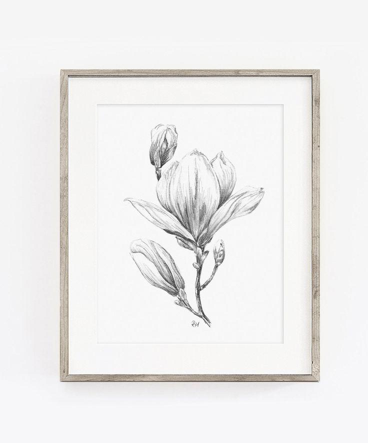 PRINTABLE Magnolia Drawing Wall Art Print, graphite Pencil ...