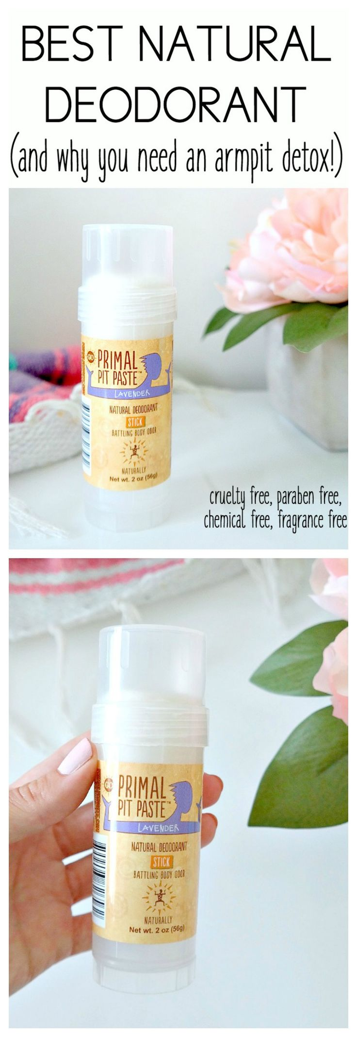 The BEST All-Natural, Cruelty-Free, Aluminum-Free Vegan Deodorant (and why you need an armpit detox!) PLUS, how and why you should switch from conventional to natural! From The Glowing Fridge #vegan #natural #deodorant