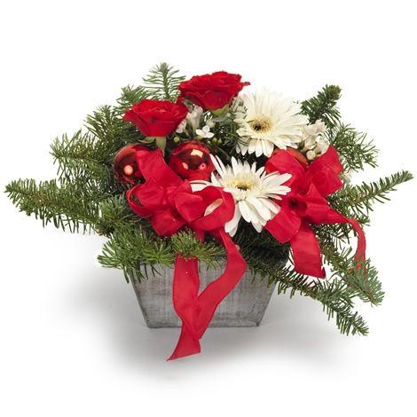 Klassisk jul i rødt og hvitt - Forus - Maren's Blomster
