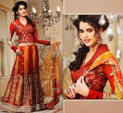 $61.04 Red Faux Georgette A Line Embroidery Lehenga Saree 26463