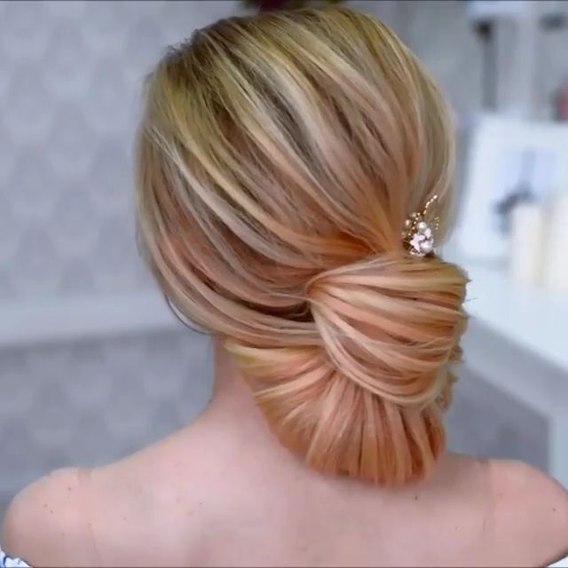 If you want to show that you're romantic at heart, try this easy low bun for a stunning look!