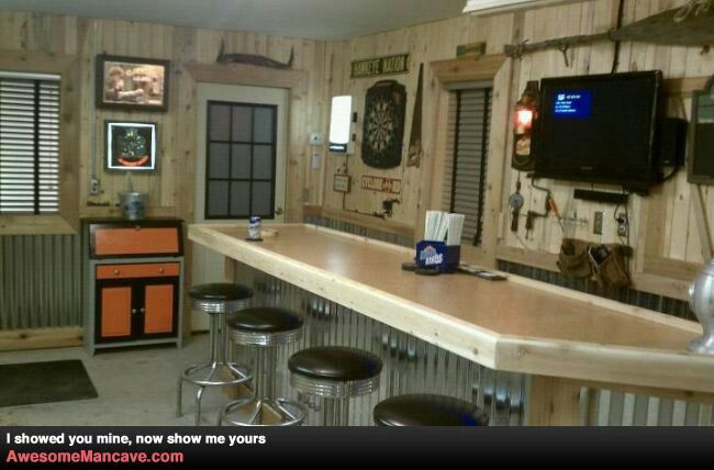12 best new house hubbys garage images on pinterest for Garage bar designs