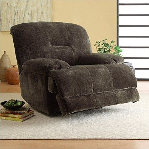 Homelegance 9723-1PW Upholstered Power Recliner Chair, Dark Brown, Textured Plush Microfiber