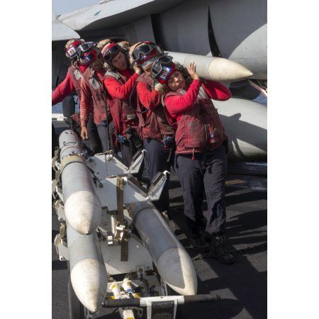 Ammunition loaders carry an AIM-120 Amraam missile Canvas Art - Gert KromhoutStocktrek Images (24 x 35)