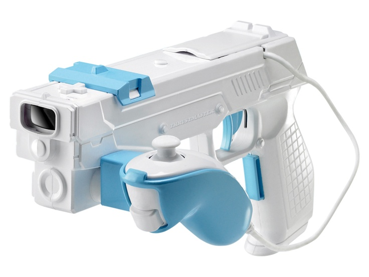 The gun trigger seems a bit more fun, though it is similar to Nintendo's own Wii Zapper, which came with the Link's Crossbow Training game and that Game|Life's Chris Kohler said actually made the shooting games less fun because it didn't improve upon the accuracy of the regular Wiimote.: Crossbow Training, Gun Trigger, Links Crossbow, Chris Kohler, Didnt Improve, Regular Wiimote, Wii Zapper, Shooting Games