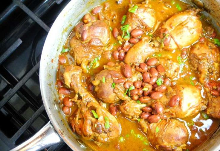 Classic Caribbean stewed chicken with red beans. Click for the full recipe with cooking demo.