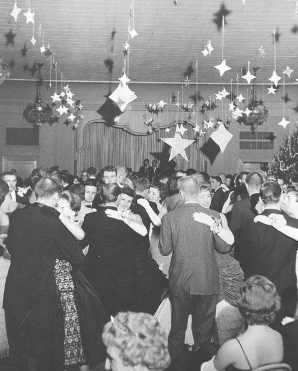 Vintage Christmas Party Dance 1950s Christmas Tree In The Background Lighting Up The Room Vintage Christmas Party Holiday Party Pictures Work Christmas Party