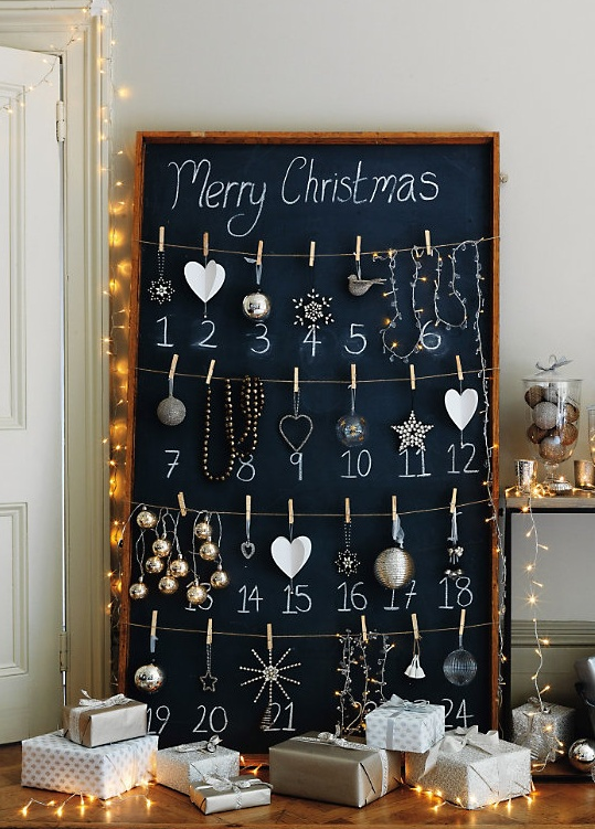 chalkboard advent calendar - holiday decorations