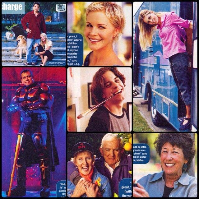 Charles in Charge cast in 2000: Scott Baio, Willie Aames, Nicole Eggert, Josie Davis, Alexander Polinsky, Ellen Travolta, and James Callahan.