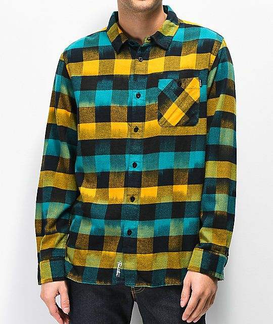 d8d882451a Primitive Buffalo Ikat Blue   Yellow Flannel Shirt