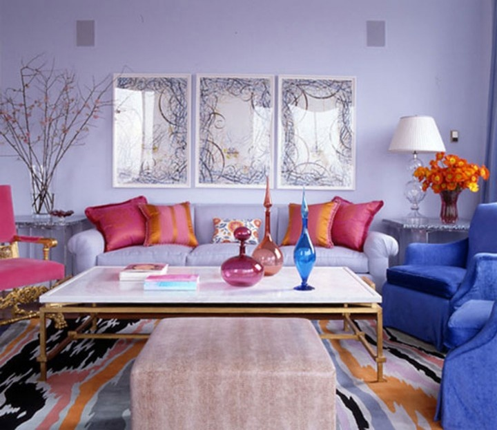 JAMIE DRAKE Lavender (purple), Blue, Pink And Coral Living Room With Brass  Accents. By Jamie Drake Design. Love The Colors