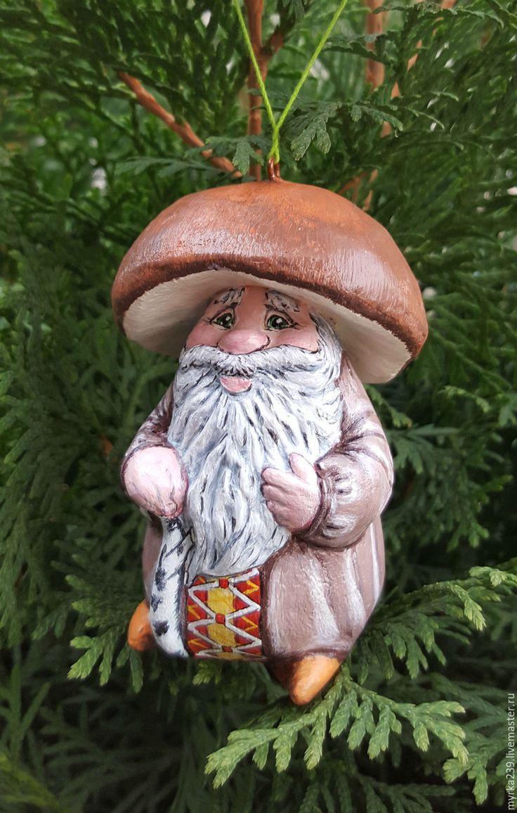 Купить игрушка елочная из папье-маше гриб--лесовик Боровик - елочные игрушки, елочные украшения