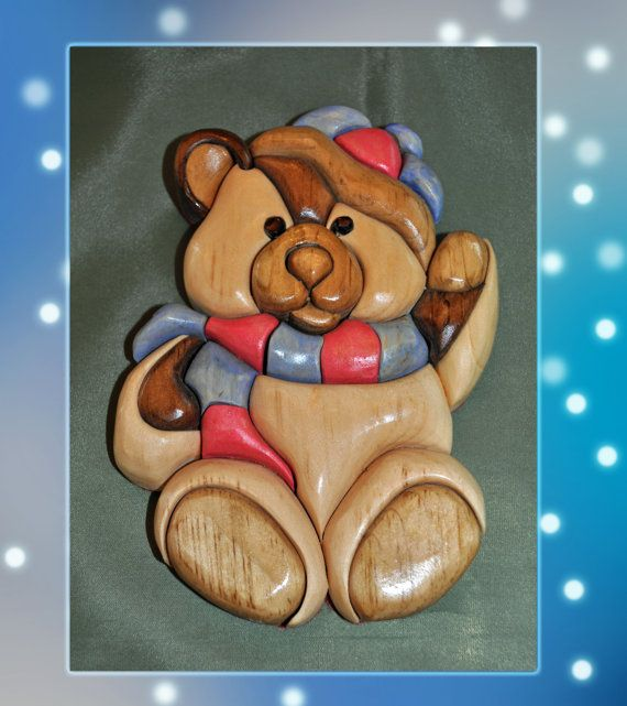Wooden Intarsia Holiday Bear by WildWoodWizard on Etsy