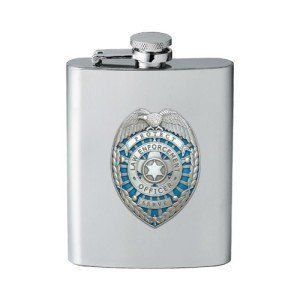 Law Enforcement Flask by Heritage Pewter. $29.99. This 8 ounce stainless steel flask is embellished with a fine pewter casting. Assembled in USA.