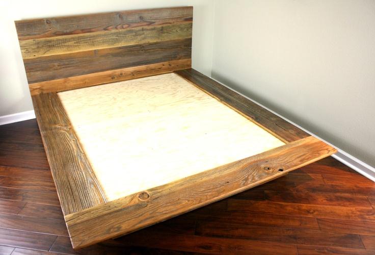 Reclaimed Wood Platform Bed Salvaged Wood Headboard