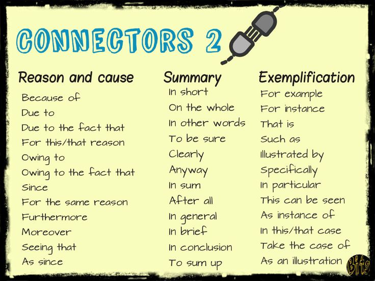 list connectors essay